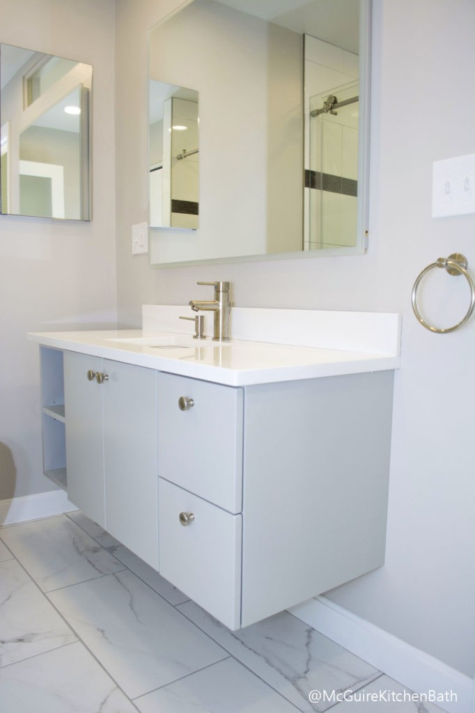 Modern Grey And White Medford Bathroom Remodel Mcguire