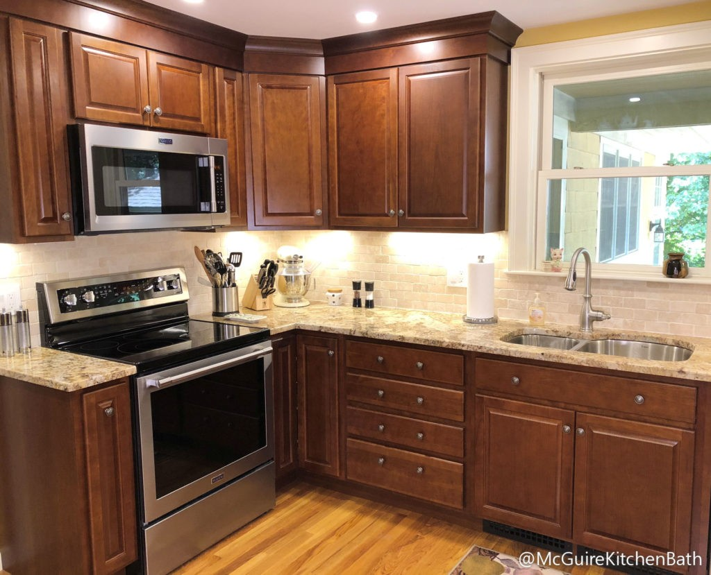 Warm Cherry Kitchen Cabinets Wakefield MA