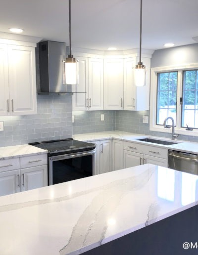 White and Grey Kitchen Remodel in Peabody with White Kitchen Cabinets - McGuire Kitchen and Bath