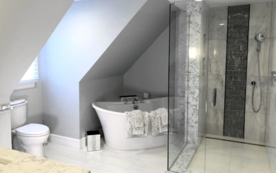 Glam Master Bathroom Remodel in Stoneham