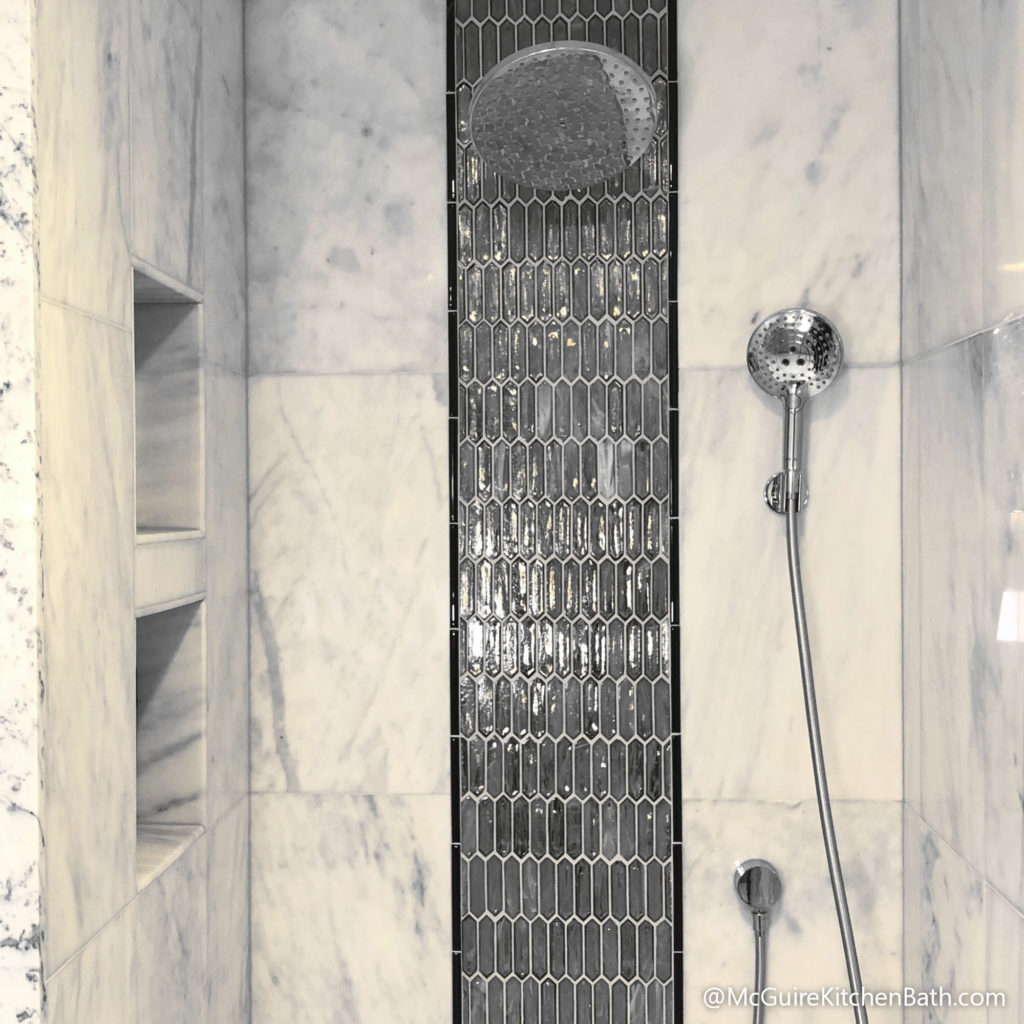 Waterfall Tile Custom Shower - Glam Master Bathroom in Stoneham MA