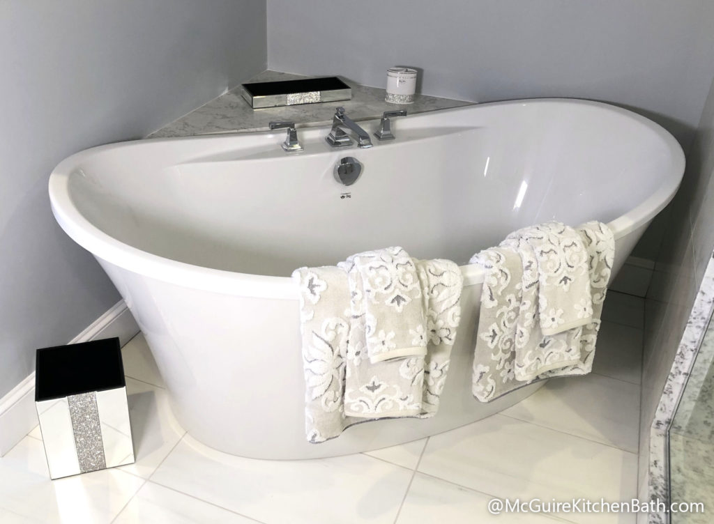 Soaking Tub - Glam Master Bathroom in Stoneham MA