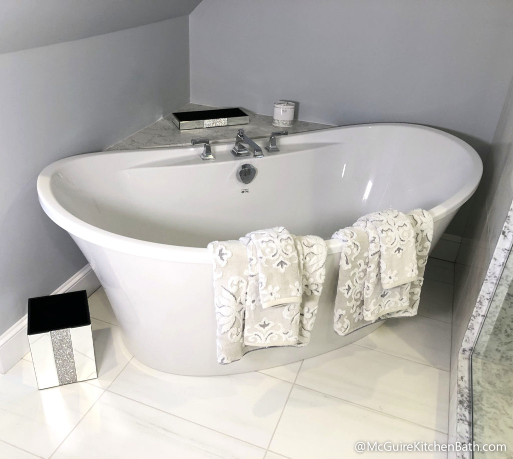 Soaking Tub - Glam Master Bathroom in Stoneham MA