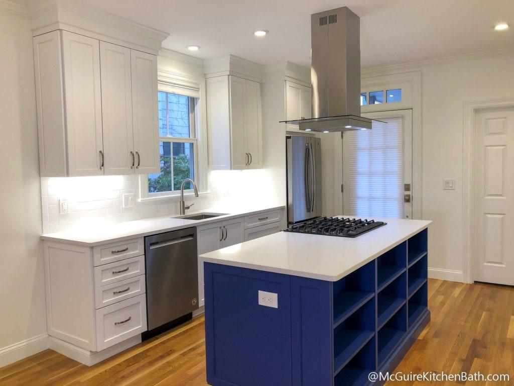 Cambridge Condo Remodel - White Kitchen Cabinets with Blue Island