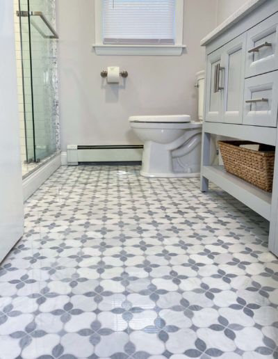Stoneham bathroom remodel tile floor