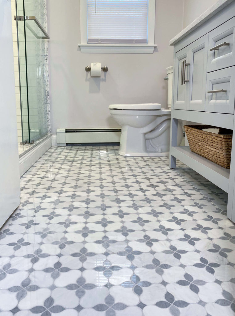 Stoneham bathroom remodel tile floor