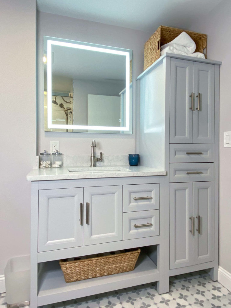 Stoneham bathroom remodel vanity