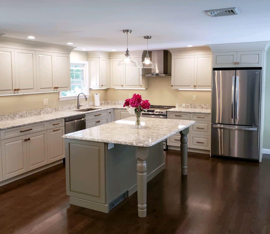 Kitchen Remodel Contrasting Island - McGuire Kitchen Bath Wakefield MA