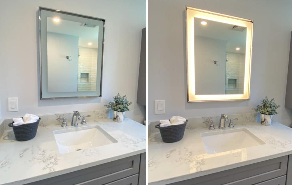 Melrose Bathroom Remodel with lighted mirror - McGuire Kitchen Bath Wakefield MA