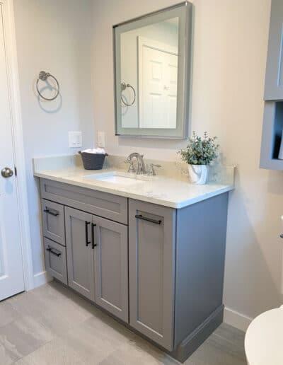 Melrose Bathroom Remodel with Gray Vanity - McGuire Kitchen Bath Wakefield MA