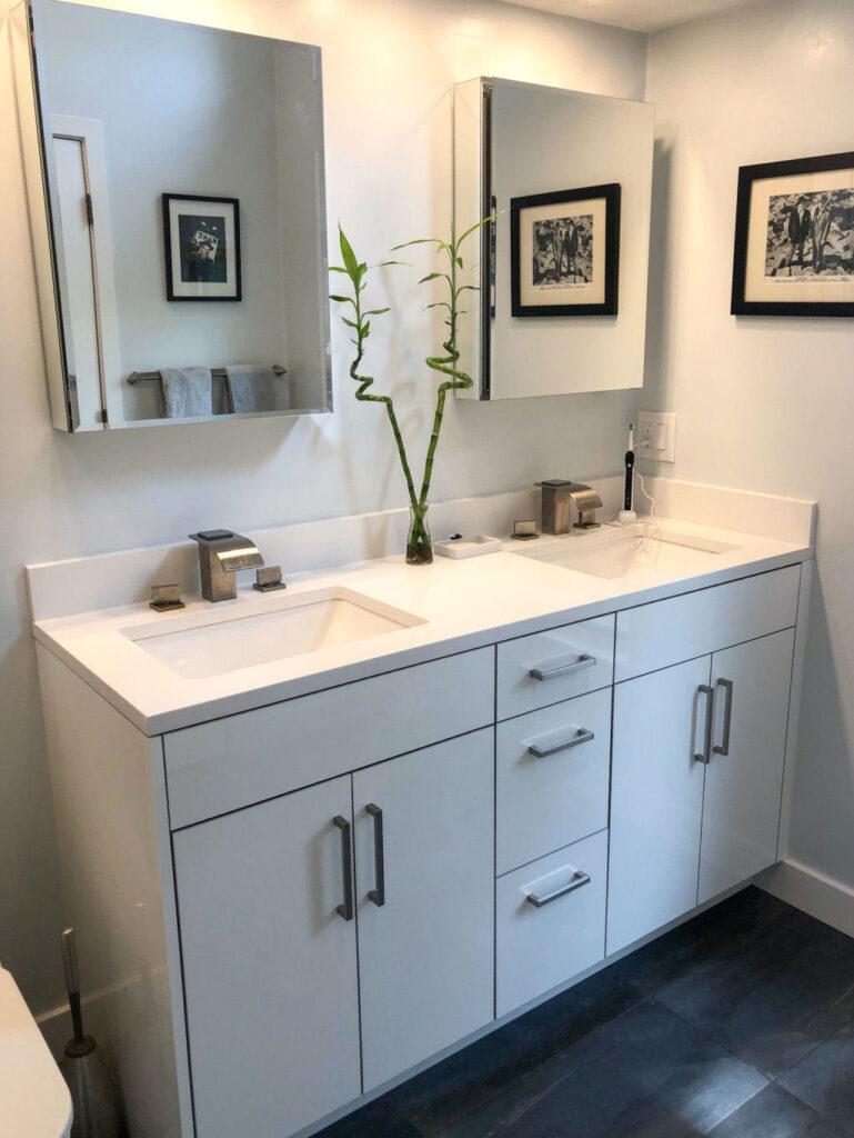 Black and White Bathroom Remodel in Wakefield MA