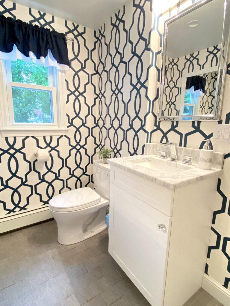 Navy Blue and White Bathroom in Woburn Ma