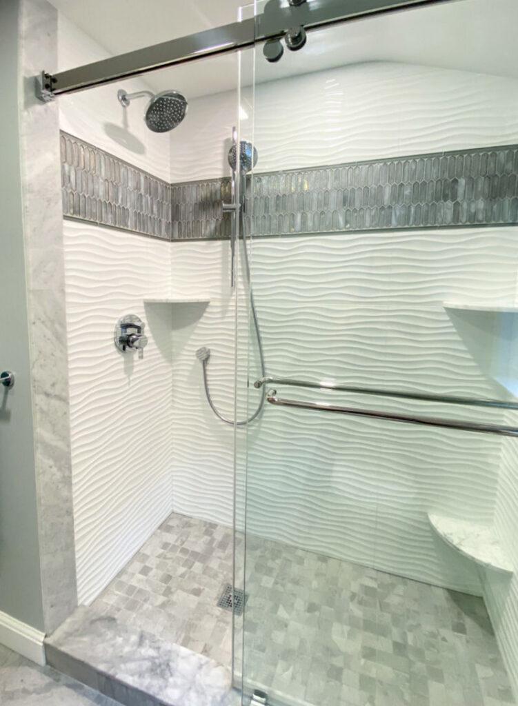 Woburn Gray and White Bathroom Remodel Custom Shower