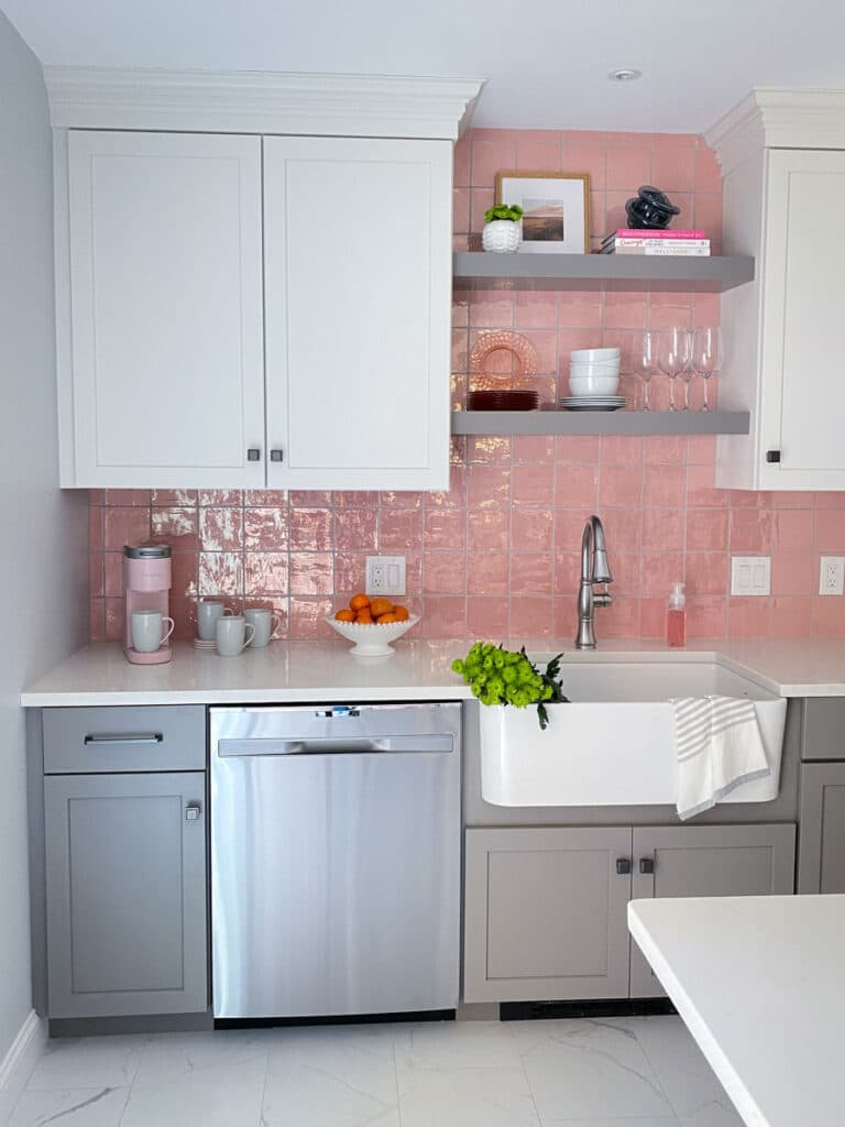 Pink Backsplash Kitchen Remodel