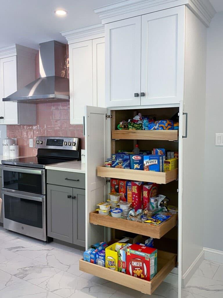 Pink Backsplash Kitchen Remodel Pantry Cabinet