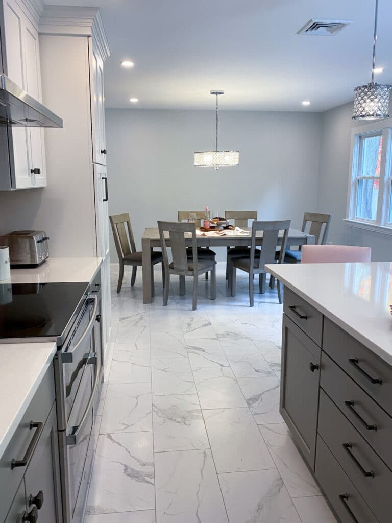 Gray and White Kitchen Remodel with Pink Backsplash