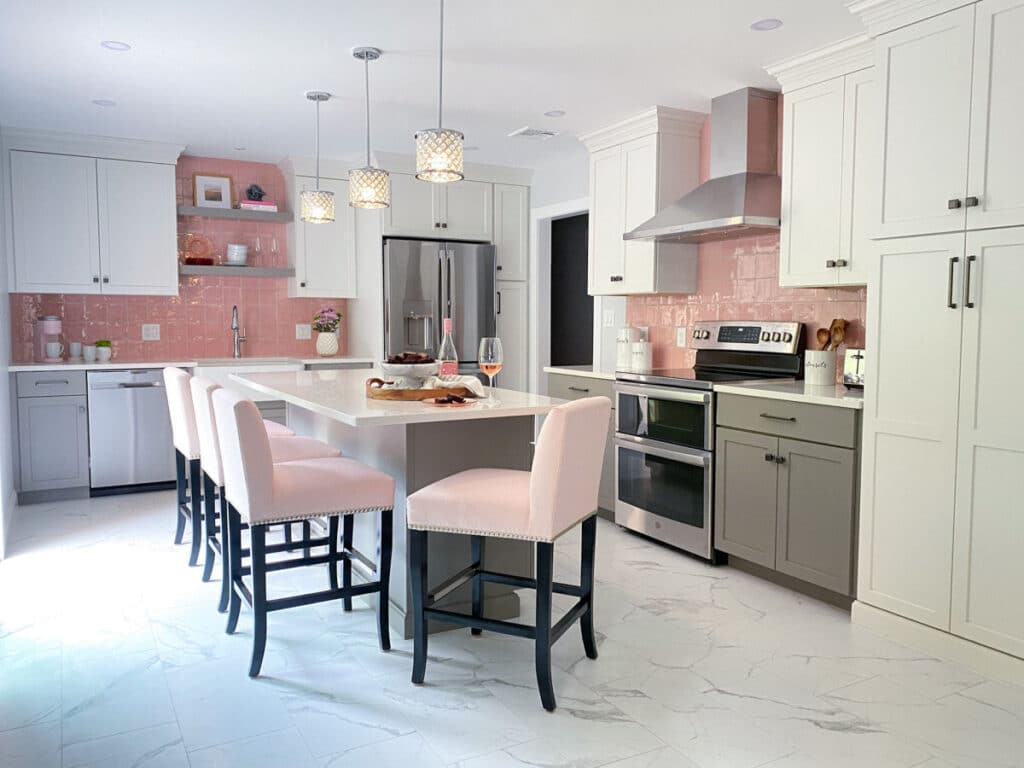 Pink Tile Backsplash Kitchen Remodel with Gray and White Kitchen Cabinets