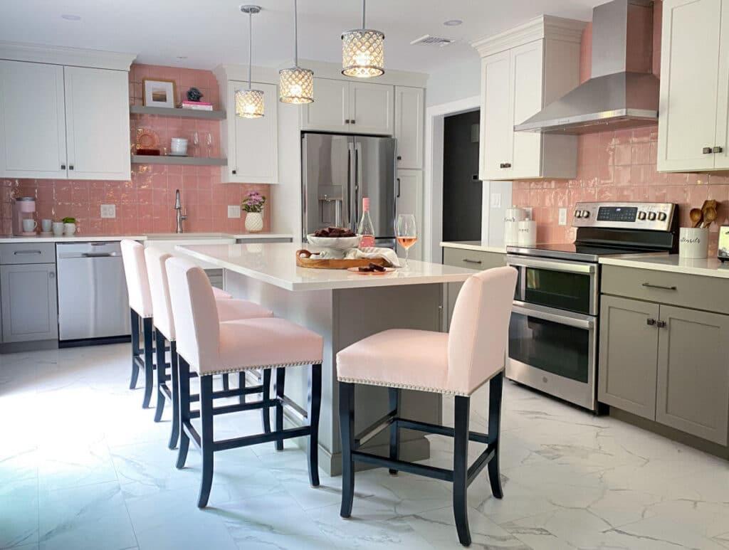 Pink Tile Backsplash Kitchen Remodel with Grey and White Cabinets