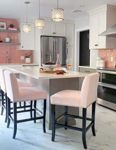 Pink Tile Backsplash Kitchen Remodel with Grey and White Cabinets