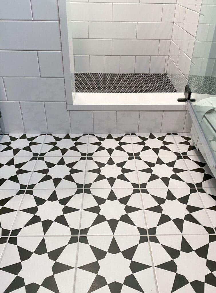 Black and White Art Deco Bathroom Remodel