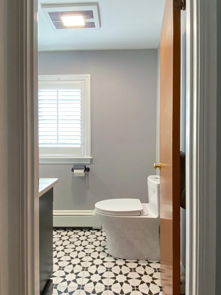 AFTER Black and White Art Deco Bathroom Remodel