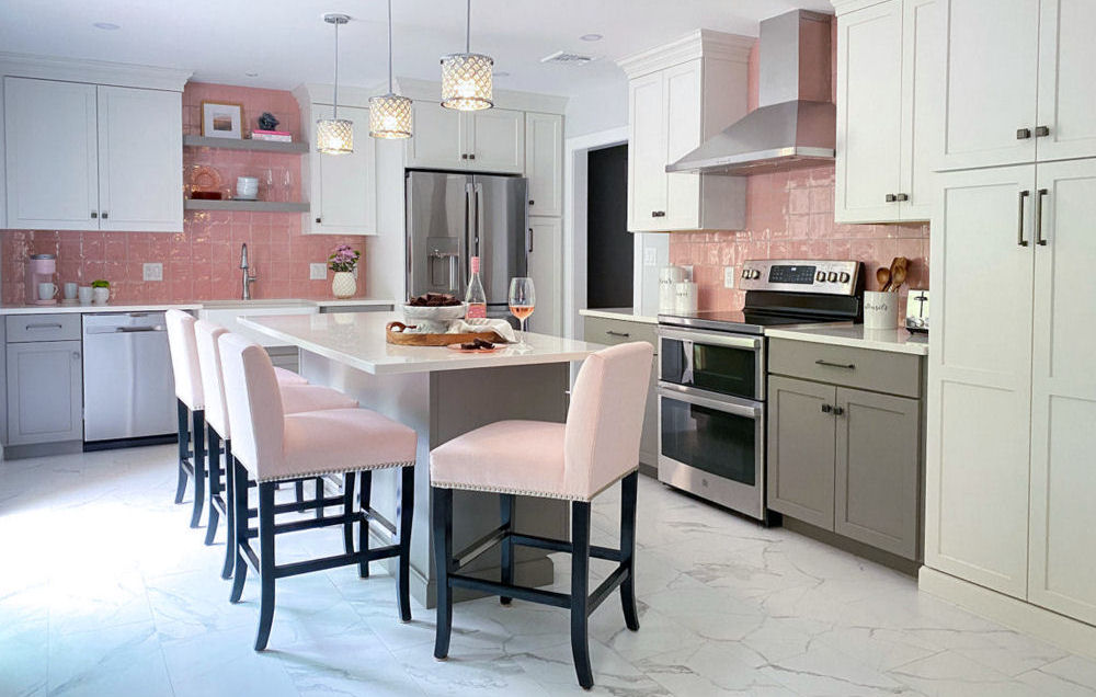 Pink Backsplash Kitchen Design Wakefield MA