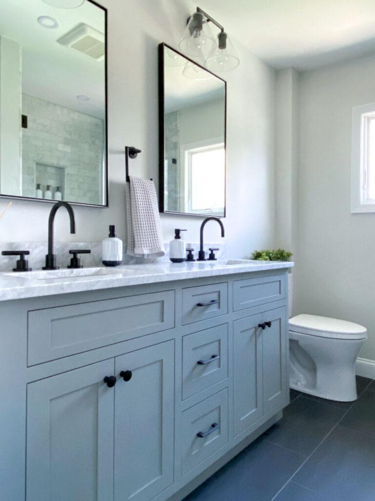 Melrose Marble Bathroom Remodel Gray Vanity