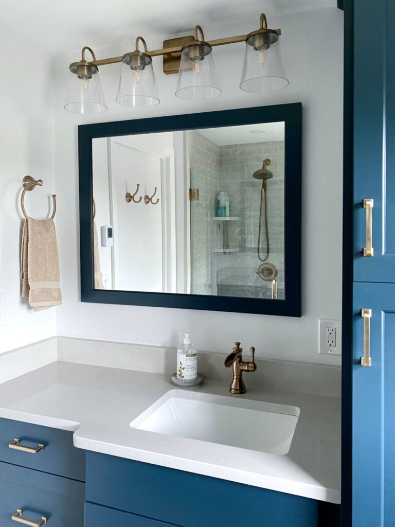 Saugus Bathroom Remodel with Blue Vanity and Cabinets