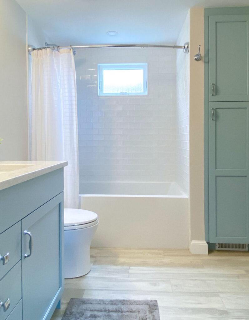 Saugus Bathroom Remodel with Light Blue Vanity