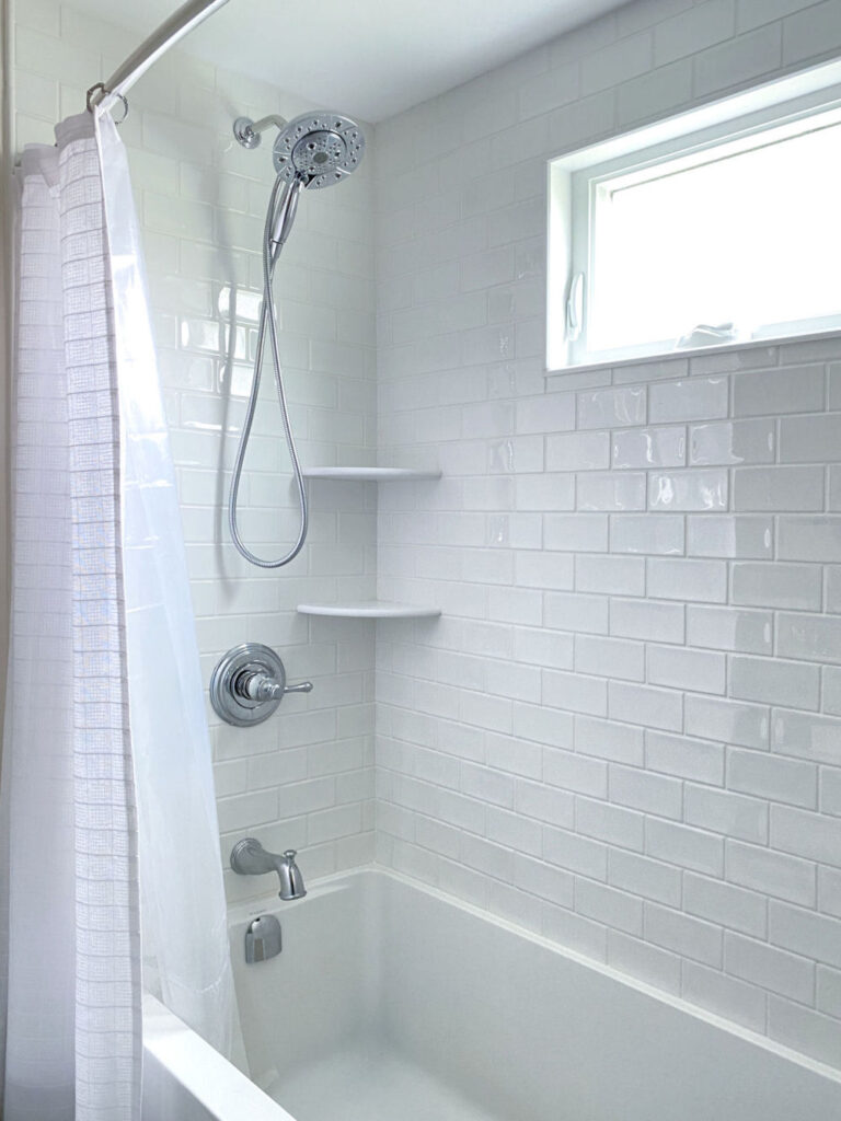Saugus Bathroom Remodel Bathtub and Shower with White Subway Tiles