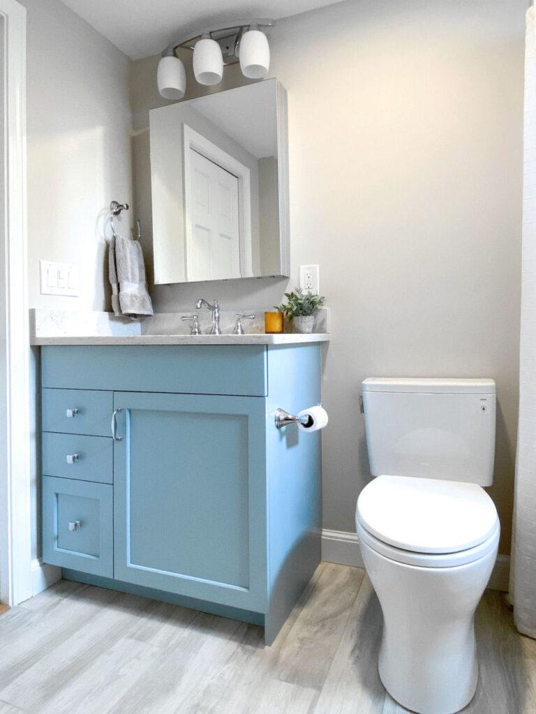 Saugus Bathroom Remodel with Light Blue Vanity and Quartz Countertop