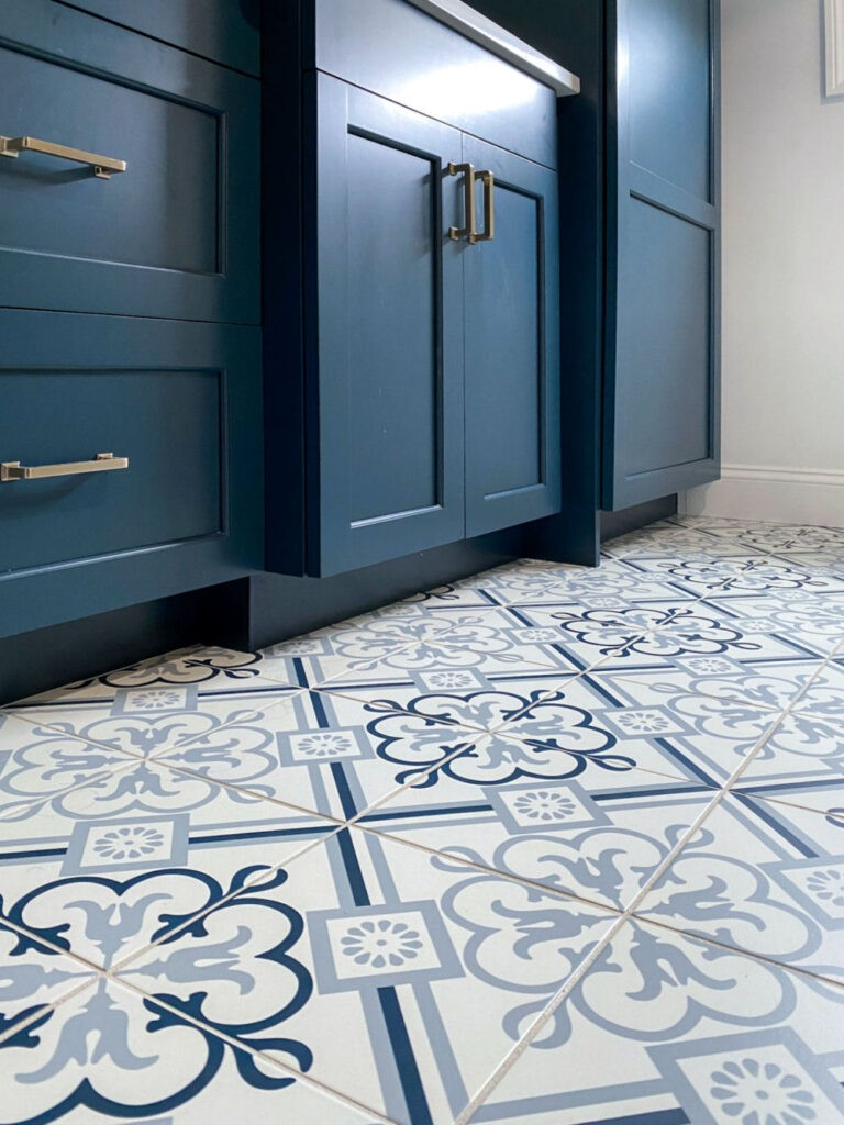 Saugus Bathroom Remodel with Blue Cabinety and Floral Porcelain Floor Tiles