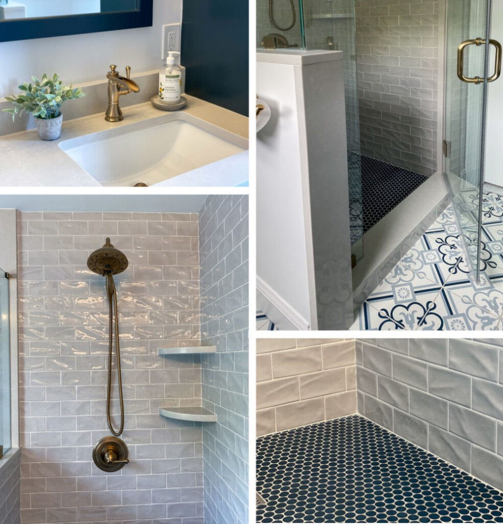 Saugus Bathroom Remodel with Custom Shower and Blue Floor Tiles
