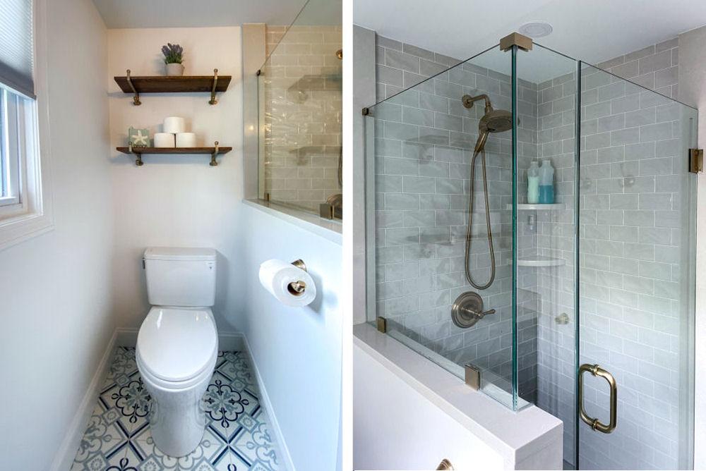 Saugus Bathroom Remodel with Custom Shower and Floral Porcelain Floor Tiles