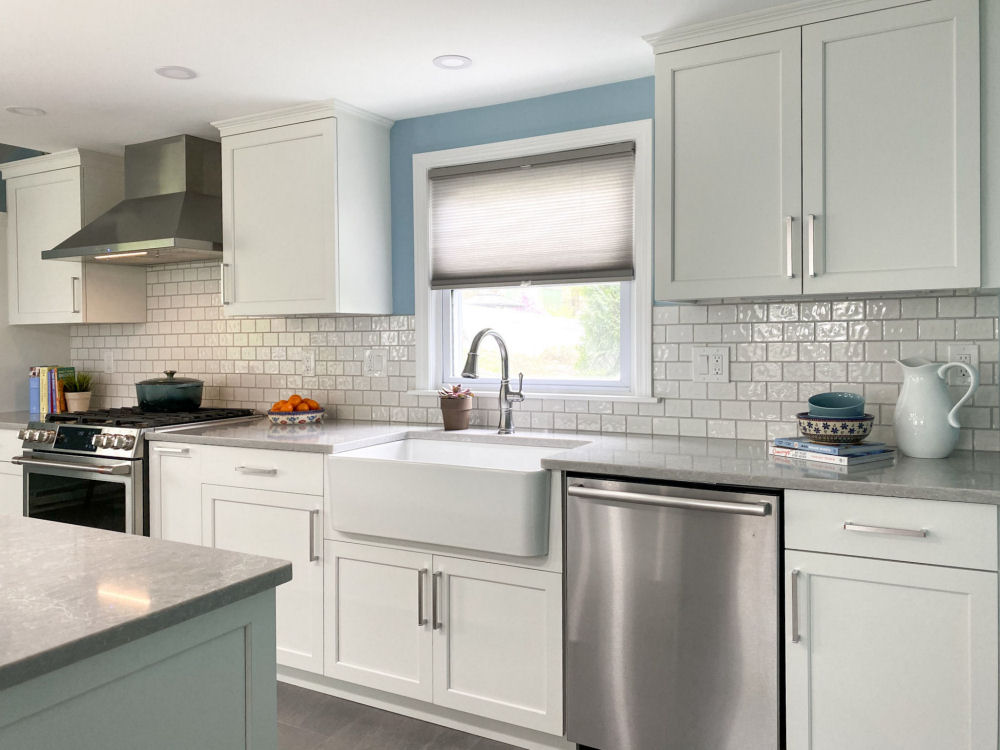 Saugus Kitchen Remodel with White Kitchen Cabinets and Farmhouse Sink