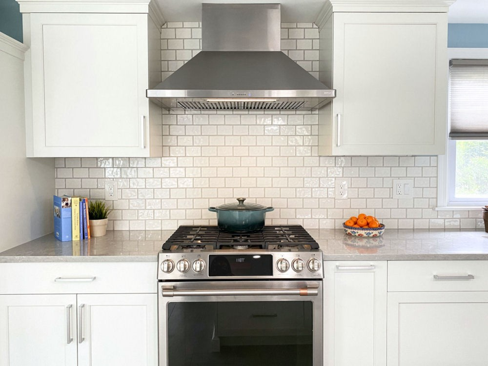 Saugus Kitchen Remodel with White Kitchen Cabinets and White Subway Tile Backsplash